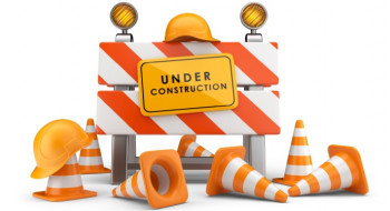 'Under construction' traffic cones and barriers
