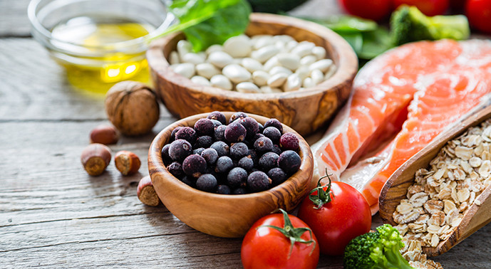 Range of healthy eating fruit and vegetables