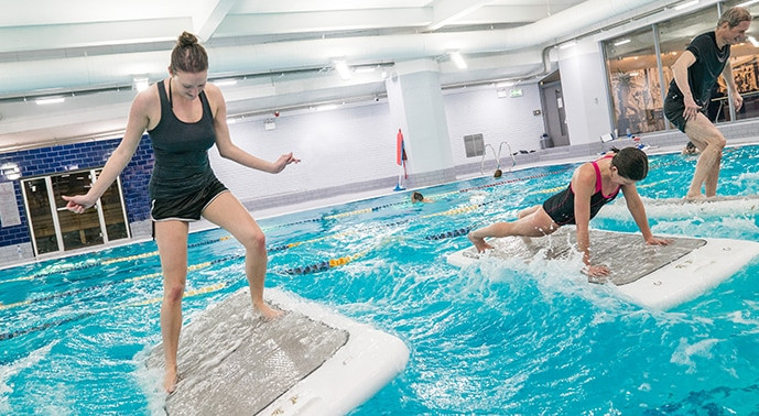FloatFit class and YMCA Club swimming pool