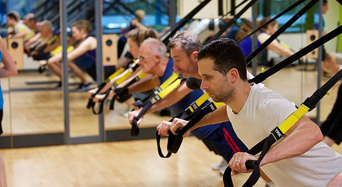 Men in exercise studios