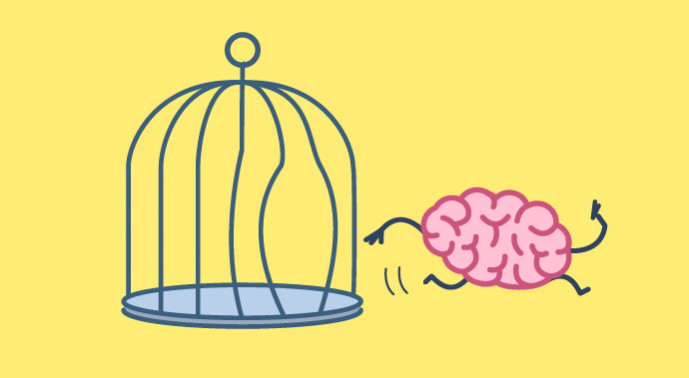 A brain escaping from a bird cage