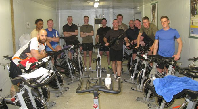 YMCAfit Indoor Cycling course in RAF base