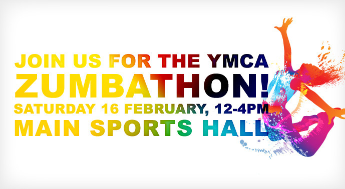 YMCA Zumbathon details: Sat 16th Feb from midday in Main Sports Hall